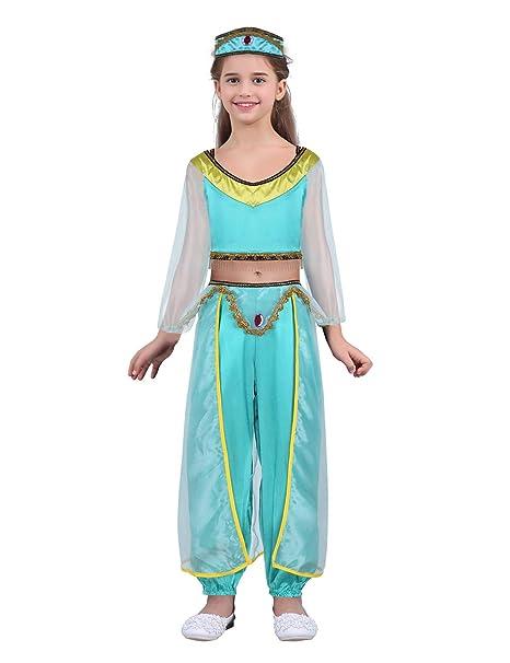 Alvivi 3Pcs Disfraz de Princesa Arabe para Niñas Cosplay Halloween Carnaval  Traje de Danza de Vientre Danza de India 4-8 Años  Amazon.es  Ropa y  accesorios 3c2ca9fb4be