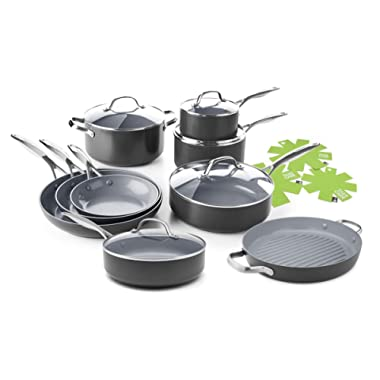 GreenPan Valencia Pro 14 Piece Ceramic Nonstick Cookware Set - Induction Compatible