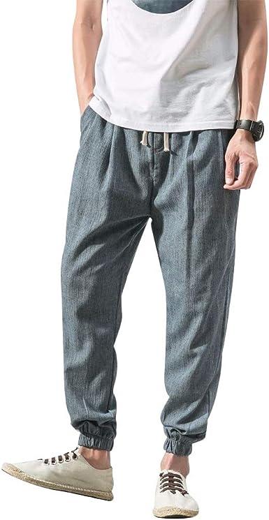 VANVENE - Pantalones de lino para hombre, de algodón, ligeros ...