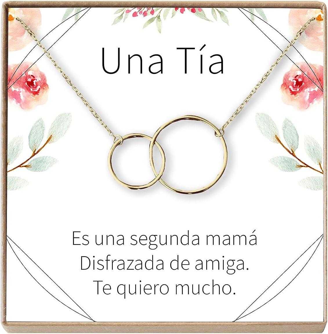 Amazon Com Collar Regalo Para Tia Joyeria Cumpleanos Dia De La Mujer Sobrina A Tia 2 Interlocking Circles Gold Plated Brass Na Clothing