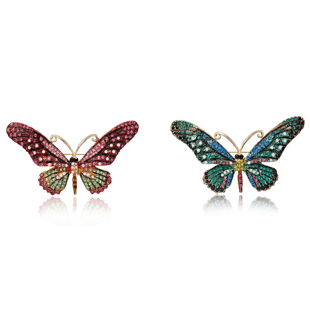 iDMSON Clear Rhinestone Butterfly Brooch Pin - Colorful Crystal Gold Plated Animal Enamel Lapel Pin For Women (2Pcs)