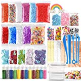 KUUQA 49 Packs Slime Supplies Kit Including Fishbowl Beads, Wobbly Eyes, Shell, Slices, Confetti, Slime Foam Beads, Slime Tools, Imitation Gold Leaf, Containers