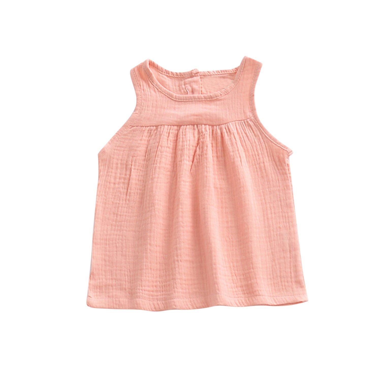 Baby Girls Loose Pleated Sleeveless Tank Tops Basic Organic Dress T-Shirts 05BFA0360-ZL