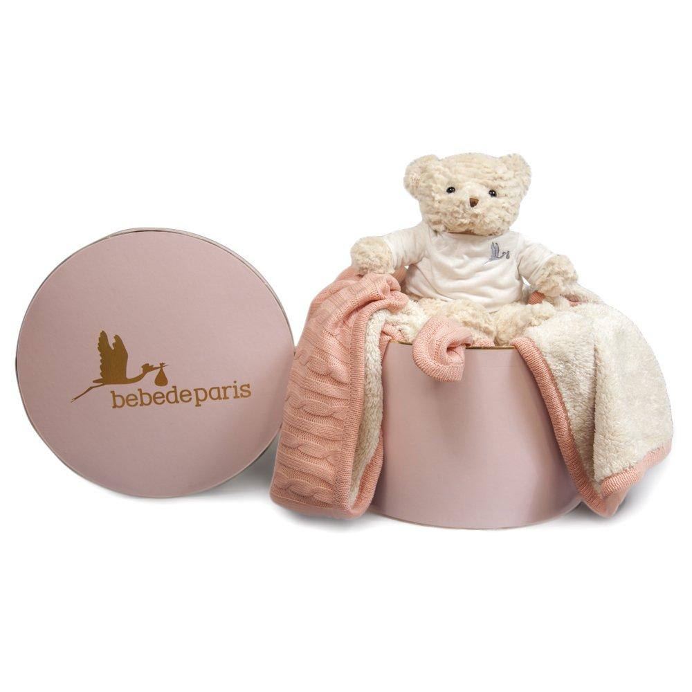 Baby Decke Deluxe - Geschenk Set --pink-bebedeparis- Größe: 130 x 150 cm-perfect Baby Geschenk und als Baby Dusche