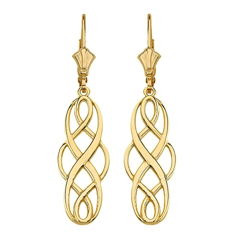 Polished 14k Yellow Gold Celtic Interlace Knot Work Dangle Earrings