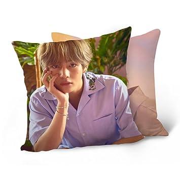 Cojín de BTS (Bangtanboys) de Grapes Garden, de algodón, con impresión digital en 3D, para sofá, coche o dormitorio, 40 cm x 40 cm, algodón, H04, 40 x ...