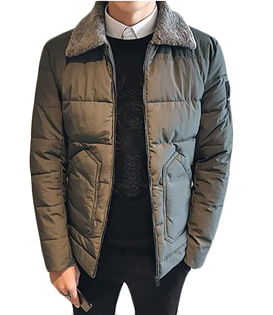CBTLVSN Mens Winter Faux Fur Collar Slim Fit Down Quilted Jacket Coat Outwear