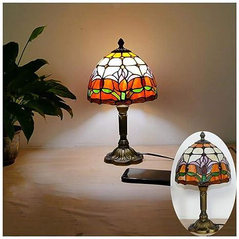 Lámpara de mesa barroca naranja retro europea - Cristal de ...