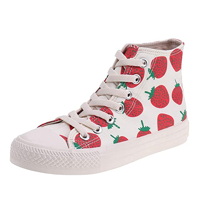 c21ee27c Amazon.com: Nadition Fashion Strawberry Print Shoes ❤ Women Lace ...