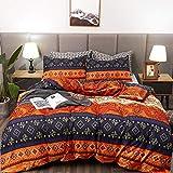 Purple and Teal Duvet Cover LAMEJOR Duvet Cover Sets Queen Size Bohemia Exotic Patterns Comforter Cover Teal Purple/Orange Red(1 Duvet Cover+2 Pillowcases)