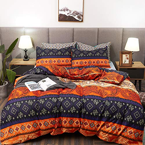 LAMEJOR Duvet Cover Sets Queen Size Bohemia Exotic Patterns Comforter Cover Teal Purple/Orange Red(1 Duvet Cover+2 Pillowcases) ()