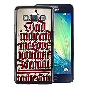 A-type Arte & diseño plástico duro Fundas Cover Cubre Hard Case Cover para Samsung Galaxy A3 (Bible Red Calligraphy Text Medieval Quote)