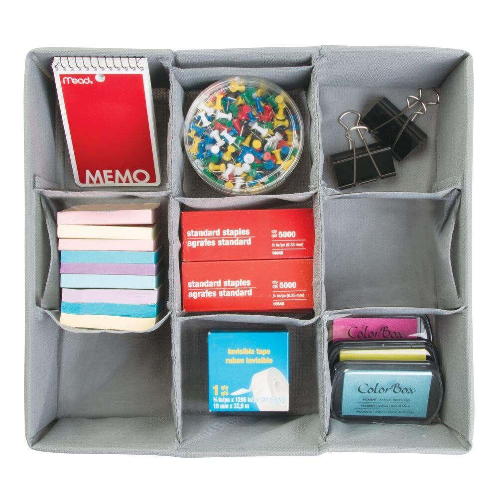 Quaderni mDesign Organizer Cassetto Per Penne Colore: grigio Blocco Note - Scatola in Stoffa con 9 Scomparti per Ufficio Matite Pacco Doppio Accessori e Altro