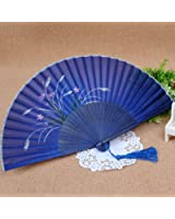 Japanese Design Silk Handheld Folding Fan ,Blue with Fine Flowers HF099