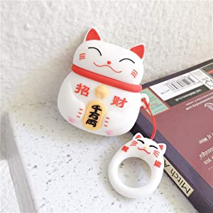 Protective Case for AirPods Soft Silicone Shockproof Cover Wireless Charging for Apple AirPods 1 2 Series Hook Carabiner Clip Cute Animals Full Cover Protection (White Maneki-Neko Cat)