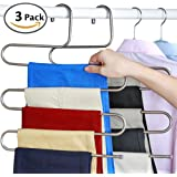 everso Pants Hangers S-type 5 layers Stainless Steel Trousers Rack Space Saving (3 packs)