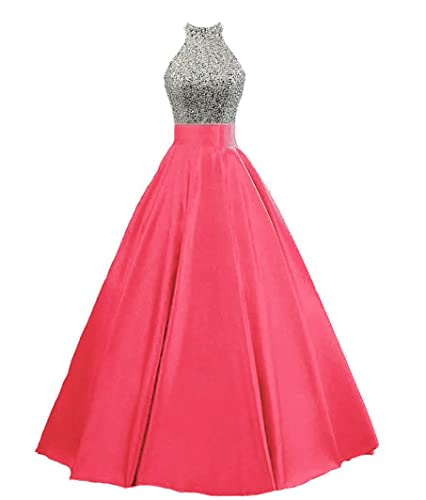 HEIMO Women's Sequined Keyhole Back Evening Party Gowns Beaded Formal Prom Dresses Long H123