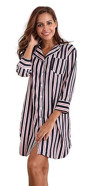 MEMORY BABY Mujer Camisón Casual Sexy Pijamas Camisa de Dormir 3/4 Mangas con Botones