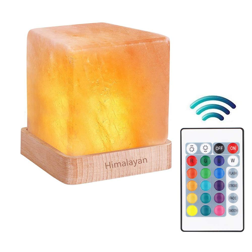 Natural Himalayan Cordless Salt Lamp Rock Crystal Rechargeable(Built-in Battery) Remote Control 15colours Decorative Present for Friend(Multi-Colored)