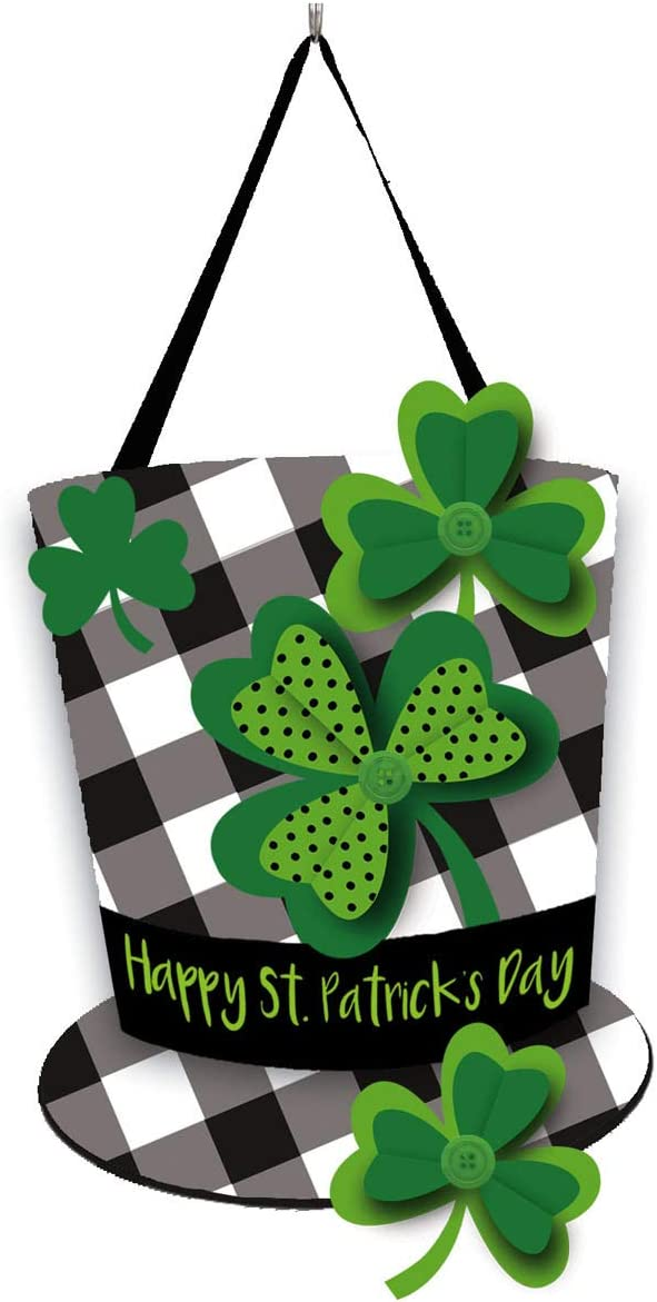 Evergreen Flag Beautiful Plaid St. Patrick's Day Hat Durable Door Decor - 20 x 14 Inches Fade and Weather Resistant Outdoor Decoration for Homes, Yards and Gardens