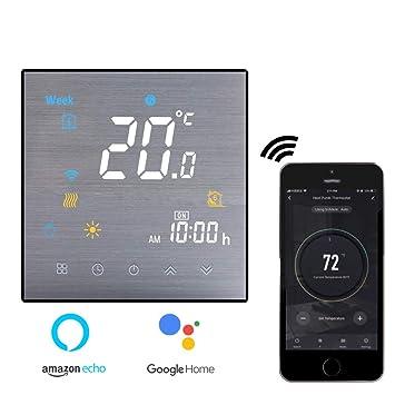 Termostato Inteligente para caldera de gas/agua,Termostato Calefaccion Wifi Pantalla LCD (Panel cepillado) Botón táctil retroiluminado programable con ...