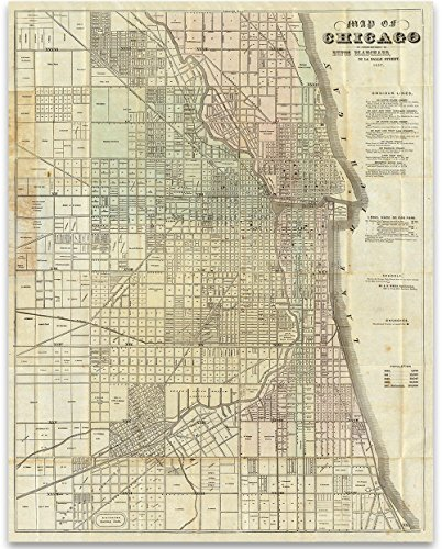Chicago Map - Map of Chicago 1857 Art Print - 11x14 Unframed Print - Perfect Vintage Home Decor Under $15