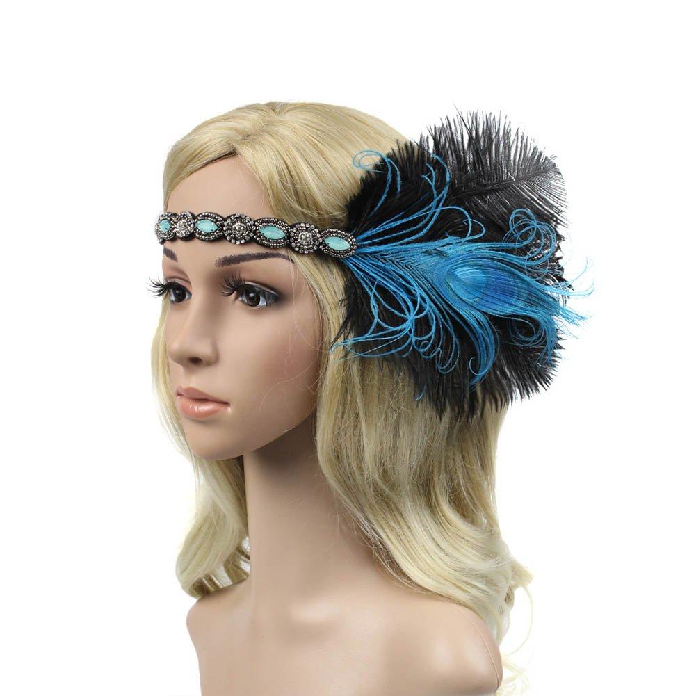 BAOBAO 1920s Womens Great Gatsby Peacock Feather Flapper Headband Hairband Wedding Party