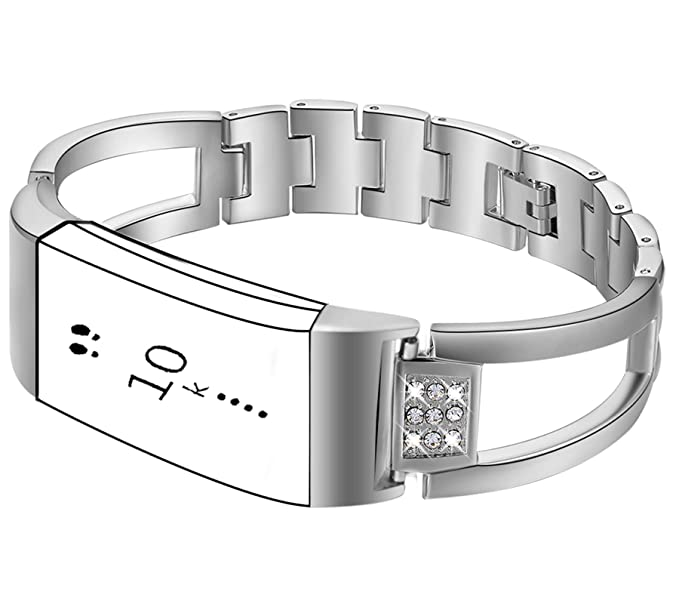 Compatible with Fitbit Charge 3 Bands, Premium Wristband Metal Bracelet  Bands Fitbit Charge 3 Silver Women Luxury ,Watch Replacement Accessories  Strap