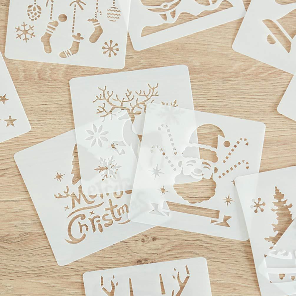 NUOBESTY 12 piezas plantillas de plantillas de navidad plantilla de pl/ástico para tarjetas de felicitaci/ón /álbumes /álbum de recortes cuaderno diario arte de pared madera