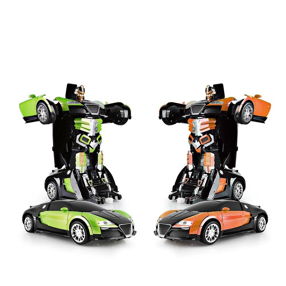 SainSmart Jr. Transformation Car Toy Bugatti Car Robot for Kids, RC Car One Button Transforms into Robot, Remote Control Transforming Robot (Orange) by SainSmart Jr. (Image #7)
