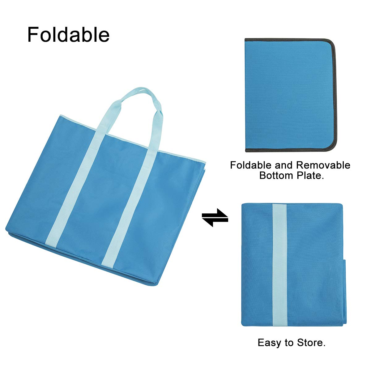 WISHPOOL Extra Large Laundry Basket Shopping Tote Bag Collapsible Laundry Hamper Handles Foldable Laundry Bags Standing Dirty Clothes Storage Organizer (Blue)
