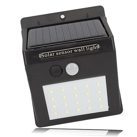 hlzdh resistente al agua Lámpara Solar 20 LED Luz solar luz solar con sensor de movimiento