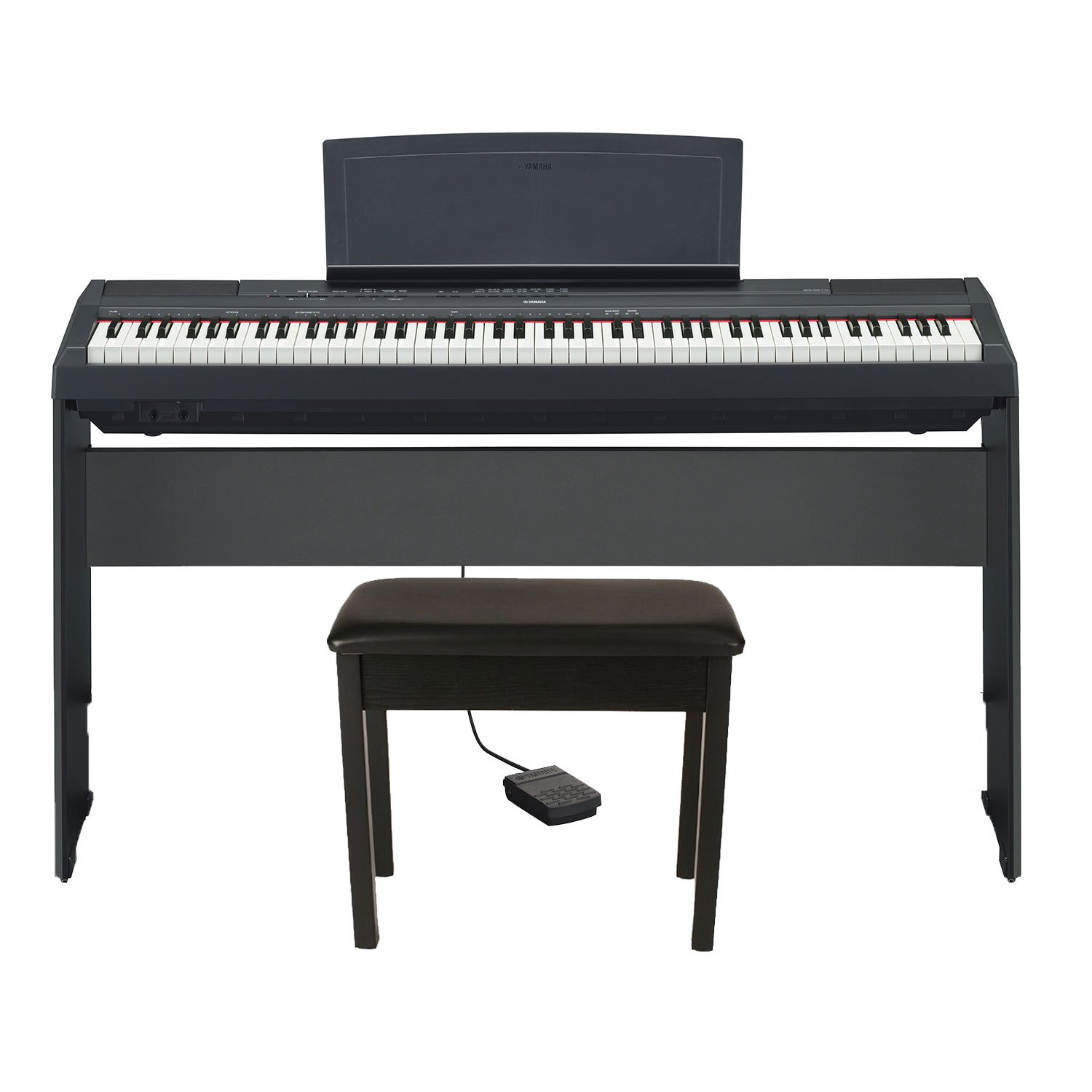 Yamaha P125B HHB17 Holiday Home Bundle (Includes) Yamaha P115B 88-Key Digital Keyboard Piano in Matt Finish Black with Yamaha L85 Wood Digital Piano Stand and Yamaha BB1 Padded Wooden Piano Bench by Yamaha