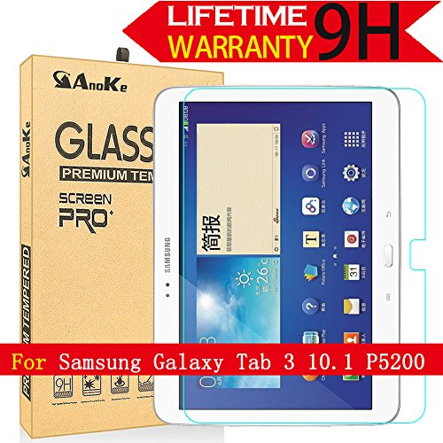 Galaxy Tab 3 10.1 Glass Screen Protector, (P5200) AnoKe(0.3mm 9H) Tempered Glass Screen Protector Film Sheild For 10.1 P5200 Glass (Touch Screen For Tab 3)