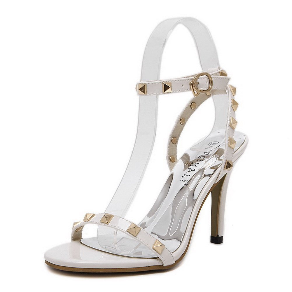 WeiPoot Women's Buckle Open Toe High-Heels PU Solid Heeled-Sandals, White, 37 by WeiPoot