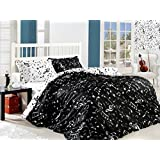 %100 Cotton Full Double Queen Size Black White Music Written Music Aide-Memoire Duvet Cover Set - 6 Piece ( 4 Pillow)