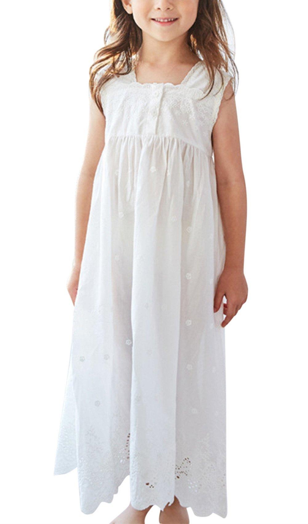 Aulase Kids Girls' Retro Lace Sleeveless Full Length Princess Dress White 4-5Y/Tag 120cm
