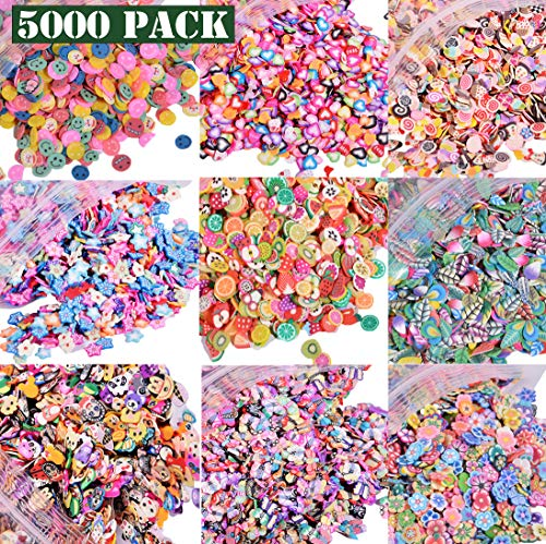 5000 PCS 3D Polymer Fimo Slices DIY Nail Art Slime Supplies Charms Slime Making Kit Decoration Arts Crafts(Fruit,Smiling face,Loving Heart,Plum Blossom,Pentagram,Cake,Cartoon,Animal,Feather