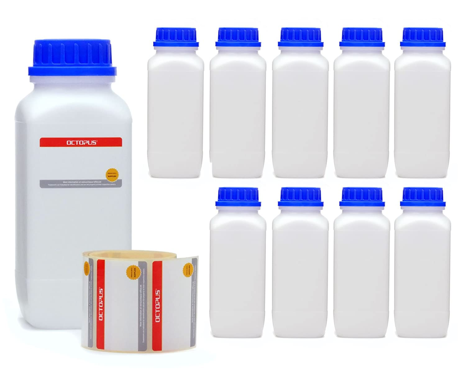 10 x 50 ml wide mouth bottles with screw top, chemical bottle, laboratory bottle Octopus Concept GmbH