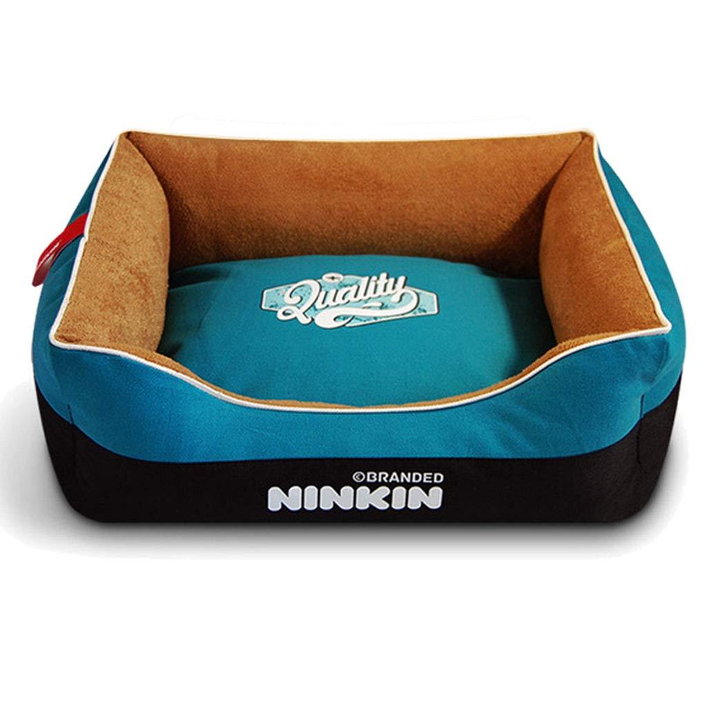 bluee 45×60cm bluee 45×60cm JKL Pet Mat, Large Dog Kennel Cat House Removable And Washable Pet Nest Wear-resistant Bite Pet Bed (color   bluee, Size   45×60cm)