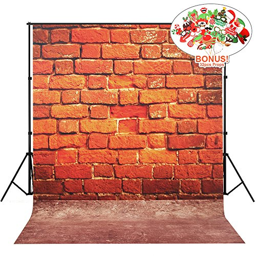 Brick Wall Backdrops, MeeQee 5X7ft Red Brick Wall Retro Photo Studio Pictorial Cloth Photography Background Screen for Photo, Video and Television, MQ-RB1 (Red Christmas Background)