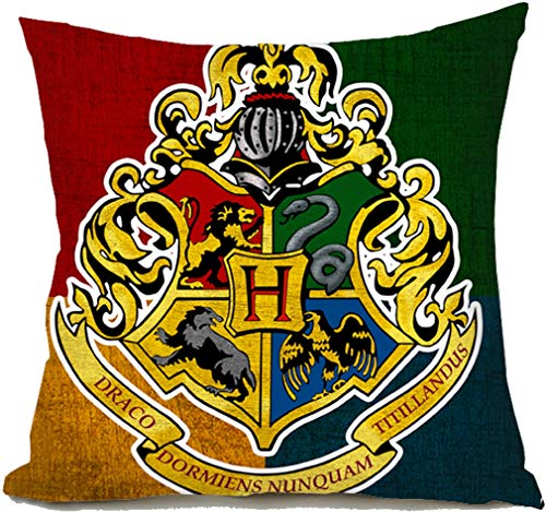 Nordic Souvenirs Harry Potter Style Pillow Cover - Hogwarts - Gryffindor Slytherin Ravenclaw Hufflepuff School Sign Pillowcase in Soft Velvet - Two Sides Printed Cushion Case - 18x18 inch -