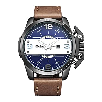 Mens Watches Big Dial Japan Quartz Movement Auto Date Military Outdoor Sports Leather Strap Wrist Watch