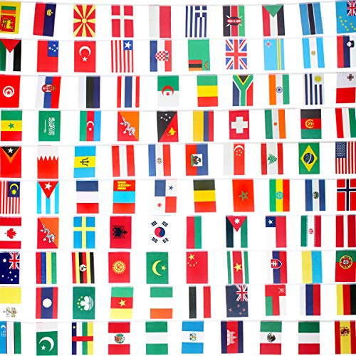 AMAPON Countries Flags 82 Feet 100 World Flags Decorations International Flags World Party Decoration World Cup Olympics Flags String Flags Bunting Banner for Bar-Sports Clubs-Grand Opening