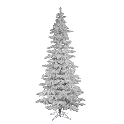 vickerman 9 unlit flocked white slim artificial christmas tree
