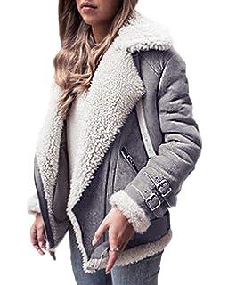 763548ff810ad OranDesigne Manteau Femmes Fourrure à Fourrure Chaude Collier Veste Slim  Hiver Parka Outwear Coats