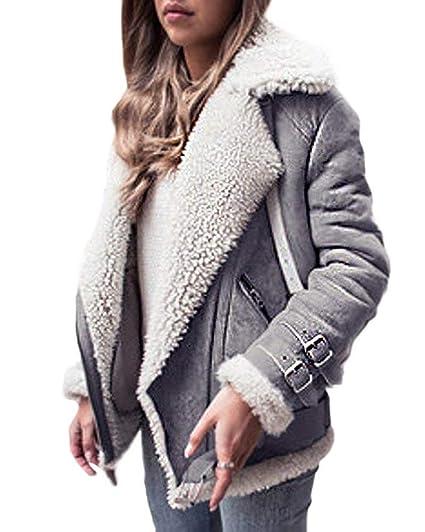 OranDesigne Damen Mäntel Mode Warm Streetwear Winter Faux Wildleder Shearling Reißverschluss Jacke Slim Fit Revers Outwear mit Taschen