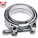 EVIL ENERGY 2.5 Inch Stainless Steel Exhaust V Band Clamp Mild Steel Flat Flange Assembly