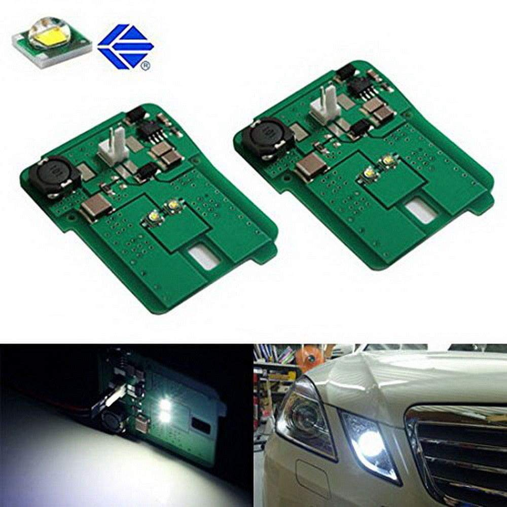 iJDMTOY White LED Parking Position Lights For 10-13 Mercedes W212 E-Class E350 E550 E63 AMG Pre-LCI, Includes (2) HID Matching Xenon White Parking Light Assy