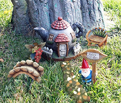 Fairy Garden Kit Accessories Statues 6 PCs, Hand Painted DIY Gnome Village for Gardens, Indoor and Outdoor Decor (Stone Large Garden Ornaments)